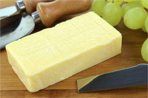 brick of cheddar cheese